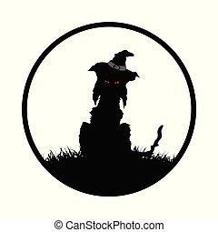 spooky, halloween, frontière, chapeau, chat