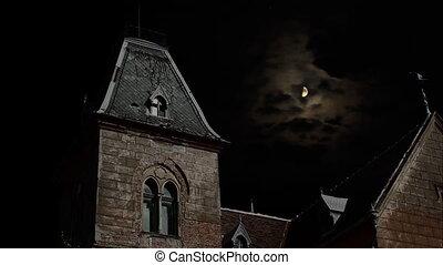 spooky, night., maison