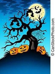 spooky, potirons, arbre, chauves-souris