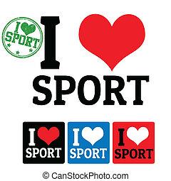 sport, étiquettes, amour, signe
