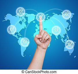 sport, badminton, toucher, interface, pousser, écran, main, bouton