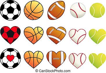 sport, balles, ensemble, vecteur, cœurs