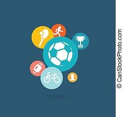 sport, composition, icônes