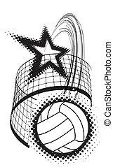 sport, conception, volley-ball, élément