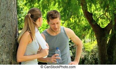 sport, couple, délassant, après