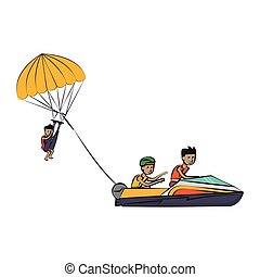 sport eau, isolé, extrême, dessin animé