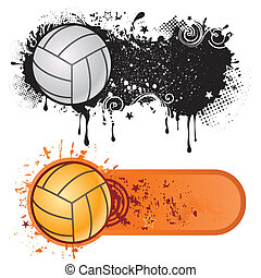 sport, grunge, volley-ball, encre