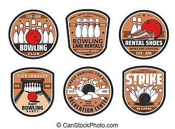 sport, jeu, club, icônes, bowling
