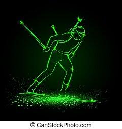 sport., linéaire, vue, côté, vert, hiver, néon, silhouette, skiing., homme, illustration., vecteur, concurrent, biathlon