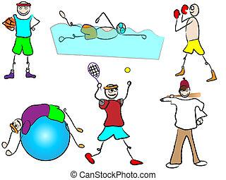 sport récréation, dessin animé