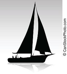 sport, silhouette, version, bateau