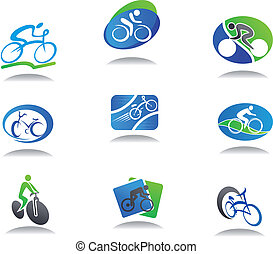 sport, vélo, icônes