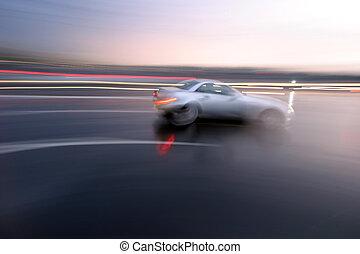sportif, jeûne, mouvement brouillé, en mouvement, voiture