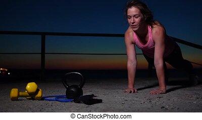 sportive, coucher soleil, jeune, élaboration