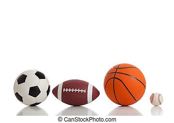 sports, assorti, blanc, balles