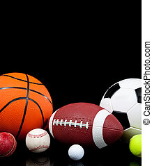 sports, balles, arrière-plan noir, assorti