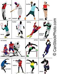 sports., collection., quelques-uns, genres