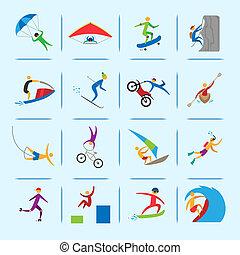 sports, extrême, icônes