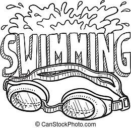 sports, natation, croquis