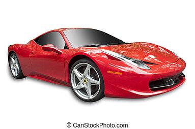 sportscar, rouges, isolé