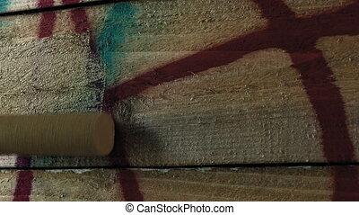 spraypaint, peinture, sur, graffiti, barrière