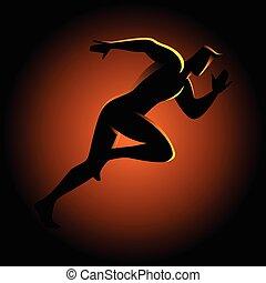 sprinter, silhouette, illustration
