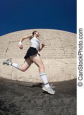 sprints, ligne., femme, vers, finition