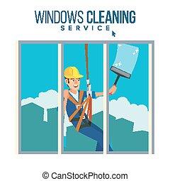 squeegee, caractère, ouvrier, spray., illustration, élevé, nettoyage fenêtre, vector., rondelle, homme, dessin animé, bâtiment.