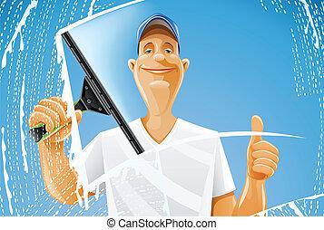 squeegee, nettoyage fenêtre, pulvérisation, homme