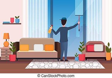 squeegee, nettoyeur, concept, habiter moderne, service, plastique, fenêtre, intérieur, essuie-glace, plat, entiers, verre, pulvérisation, nettoyage, utilisation, horizontal, homme, salle, essuyer, douche, longueur, bouteille, mâle, concierge