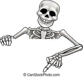 squelette, dessin animé, pointage, signe