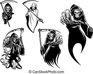 squelette, mort, caractères