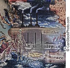squelettique, symbolique, composition, figure