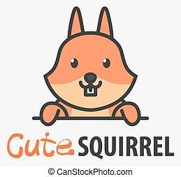 squirrel., animal, mignon, curieux, sauvage, logo, gabarit, icon., forêt