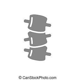 sténose, spondylolisthesis, osteochondrosis, symbole, foraminal, gris, icon.