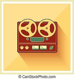 stéréo, pont, bobine, joueur, bande, retro, enregistreur, ouvert