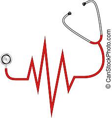 stéthoscope, électrocardiogramme, -