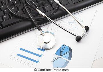 stéthoscope, bureau, médecins