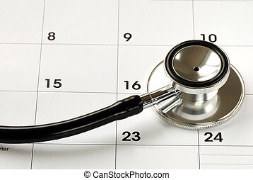 stéthoscope, monde médical, calendrier rendez-vous, concepts