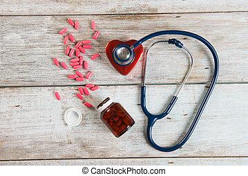 stéthoscope, santé, coeur, photo, concept