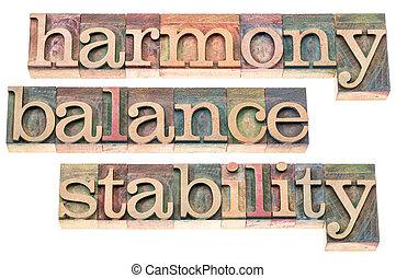 stabilité, harmonie, équilibre