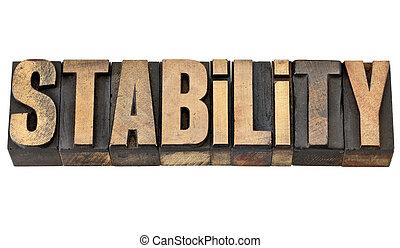 stabilité, mot, type, letterpress
