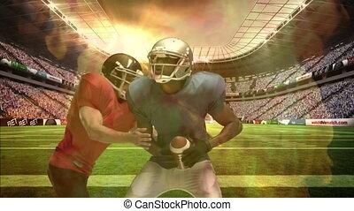stade, américain, composite, numérique, football, affronter, aborder, joueurs