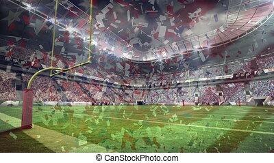 stade, américain, composite, numérique, football