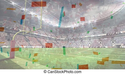 stade, américain, confetti, tomber, football, animation, professionnel