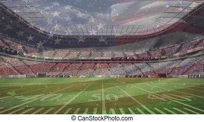 stade, américain, contre, drapeau, flotter, professionnel