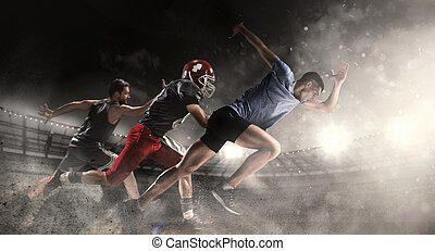 stade, collage, sports, course, sur, football américain, joueurs, multi, basket-ball
