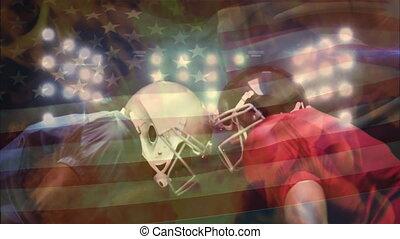 stade, debout, américain, figure, joueurs football