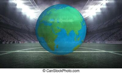 stade, globe, tourner