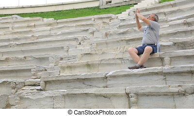 stade, mâle, touriste, filmer, antiquité